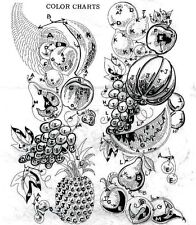 Vintage Embroidery transfer repo 515 Fresh Fruit for Two 11x24 inch Pictures