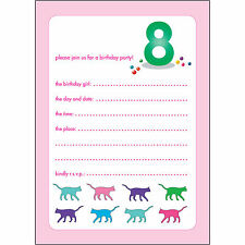 10 Childrens Birthday Party Invitations 8 Years Old Girl - BPIF-56 Cats