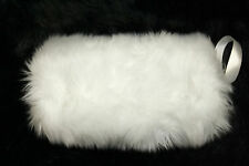 SNOW WHITE FLUFFY FAUX FUR HAND WARMER MUFF PERFECT BRIDAL WEDDING CASUAL NWT