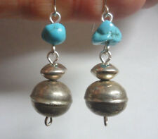 TY SALE VTG NAVAJO PEARLS TURQUOISE BENCH BEAD STERLING SILVER DANGLE EARRING