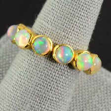 18k Solid Yellow Gold Ethiopian Opal Eternity Ring SIZE 6.75