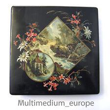 schwarze vintage Lackdose aus Pappmaché, selten Öldruck 1900 Bayen Österreich