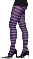 Ladies Purple and Black Striped Halloween WItch Fancy Dress Tights Stockings