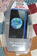 2 pack Wireless Gear Gel Skins For  Use With iPhone 4 Blue & Black Free shipping