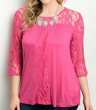 Size 2X SHIRT TOP Womens Plus PINK EGGPLANT 3/4 Sleeve KNIT LACE ARMS Araza NEW