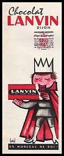 Publicité Chocolat LANVIN  Un morceaui de Roi  Chocolate ad   1960 - 2i