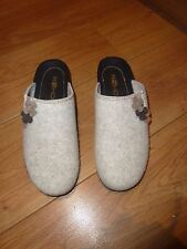 Rohde fawn & brown wool felt slip on mules with wedge heels size 9 BN