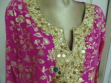 NWOT Diane Gilman Fuschia Hot Pink Sequined Gold Lame Long Sleeve Tunic Top L