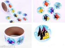 Lot of 24 Round Fish Stickers - Great for Birthday Party Loot Bags & Christmas