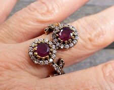 Large 925 Silver Turkish Design RUBY QUARTZ Ring Sz R-8.75 R745~Silverwave*uk