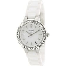 NEW DKNY SILVER TONE, WHITE CERAMIC BAND WITH CRYSTALS , LADY'S WATCH NY2249