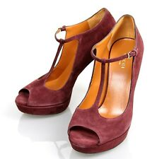 New Authentic Gucci Suede BETTY T-Strap Platform Pumps,Burgundy,39.5/9.5, 269713