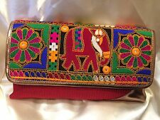 Multi Coloured Red Handbag Clutch Wallet Bollywood Indian Sari Purse Art Silk