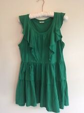 MIU MIU GREEN DRESS SIZE SMALL RUFFLED TIERED CASUAL COTTON JERSEY SLEEVELESS