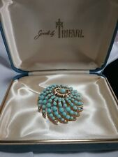 Vintage Gold Crown Trifari Whirlwind Turquoise Spiral Brooch Pin With Box