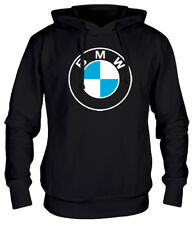 BMW Big Logo Men Hoodie for BMW Lovers - 100% Cotton Black / Cream / Blue M L XL