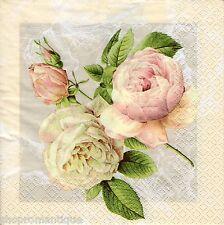4 x Single Designer PAPER NAPKINS Cottage Roses Floral DECOUPAGE CRAFTS