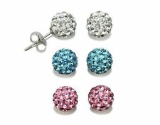 3Pairs White-Blue-Pink 925 Silver Shamballa Crystal Disco Ball Earrings 8mm