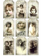 Vintage Children Sepia ~ Card Toppers/ Tag Style  / Scrapbooking / Card Making