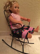 Vintage Wrought Iron American Girl Doll Size Ice Cream Chair Rocking Rock