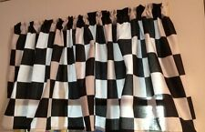 Nascar Black White Checkered Flag Cotton fabric Window Curtain Valance