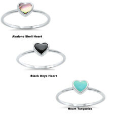 Abalone Shell Turquoise Black Onyx 925 Sterling Silver Engagement Heart Ring