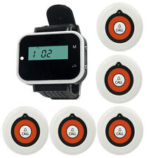 Wireless 5x Button Pagers +1 Watch Receiver for Restaurant Calling System ABS