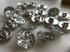 24 pieces Vintage Czech 18mm Glass Buttons w/Shank-Crystal-SWEET!