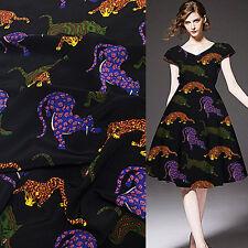 "Animal design leopard print silk Crepe DE chine fabric 45"" width 17momme,SCDC441"