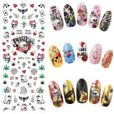 1 Sheet Skull Rose Heart Theme Nail Art Water Transfer Decal Manicure Sticker