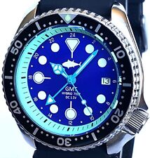 Vintage diver SEIKO mens 7002 GMT mod SWISS dual-time movement w/Blue TUNA dial!