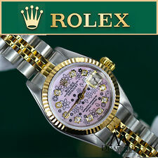 Rolex 26mm 18KGold&Stainless Steel 2Tone Datejust Pink Flower Diamond Face