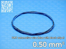 Automotive wire FLRY 0.5mm², blue color with black stripe, 1 meter length