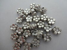 30x cute Tibetan Silver Double sided Flower daisy Spacer beads 6mm x3mm thick