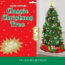 CLASSIC CHRISTMAS TREE SCENE SETTER PARTY WALL DECORATION LIGHT BAUBLES GIFTS