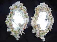 Fancy Pair Porcelain Dresden Style Putti Cherub Acanthus Rococo Bedroom Mirrors
