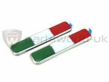 Pair of Brand New & GENUINE Alfa Romeo Italian Flag Badges / Emblems 70x15mm NEW