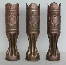 3 WWI IDENTICAL SET TRENCH ART SHELLS ARGONNE & CHAT THIERRY & ST MIHIEL