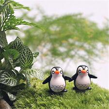 2 Pz Mini Carino Pinguino Resina Decorativa Da Giardino Micro Paesaggio