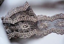 2 3/8 inch wide  black gold thread embroidery lace trim  selling by the yard