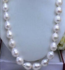 20 INCHES HUGE SEA AAA+ 11-12 MM WHITE AKOYA BAROQUE PEARL NECKLACES