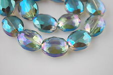 Bulk 10ps Green Colorized Glass Faceted Flat Oval Bead 20x16mm Spacer Findings