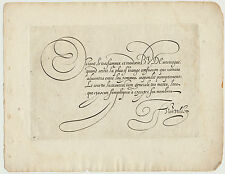 van der VELDE Original Kupferstich um 1600 Kalligrafie Handschrift Kunst SCHRIFT