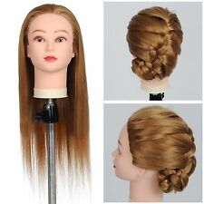 "22"" 50% Real Hair Salon Mannequin Head Practice Training Hairdressing w/Clamp"
