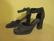 Vintage Evan - Picone black leather ankle strap open toe pump heels size 7 1/2