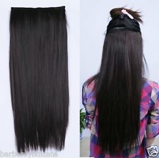 26 inch Straight 6 Clip in Hair Extensions #1B (BLACK COLOUR)
