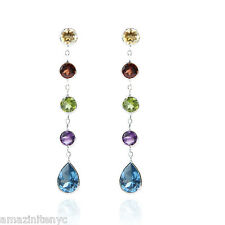 14K White Gold Dangling Earrings With Multi-Colored Gemstones