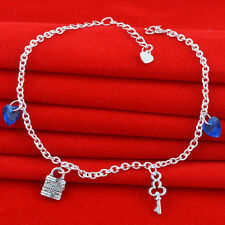 Jewelry Fashion  925 silver crystal chain Bracelet Anklet gift for women N-283