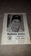 1960s WASHINGTON SENATORS PICTURE PACK WITH 12 PHOTOS IN ORIGINAL PACKAGE SEALED