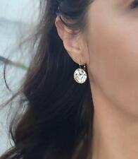 LARGE 15 MM Round Bella Earrings Clear Swarovski Crystal Gold Plated Bezel Lever
